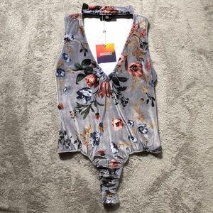 Missguided Velvet Floral Bodysuit NWT